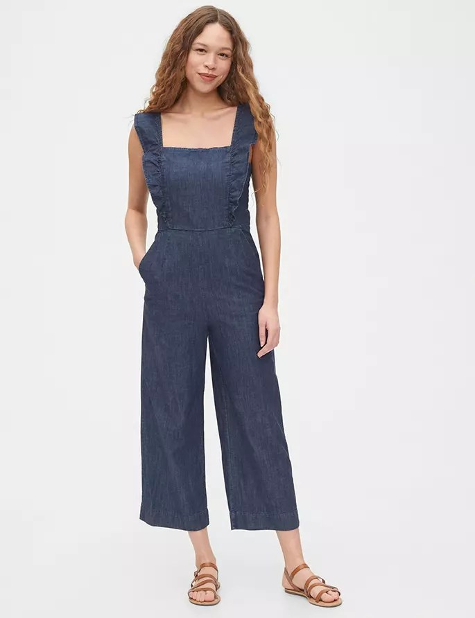 Denim Jumpsuit on model