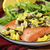 5-Minute Salmon with Lemon-Artichoke Salsa