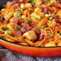 Buffalo Chicken, Bacon and Sweet Potato Noodle Skillet