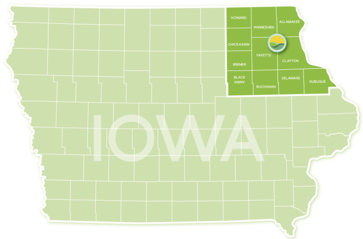 Northeast Iowa Grass Fed Region Map