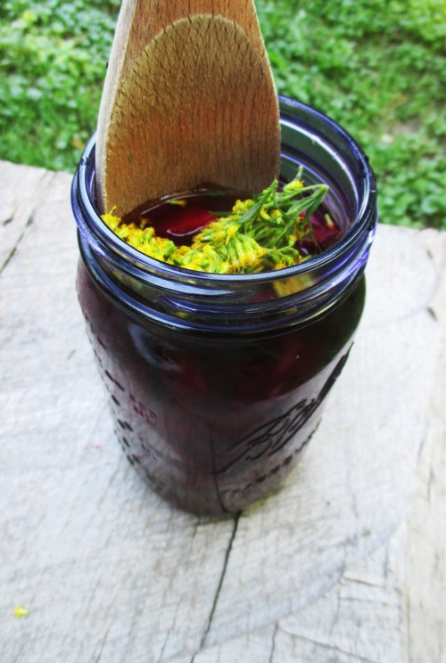 Muddling Beet, Peach, and Goldenrod Shrub | Deer Nation Herbs