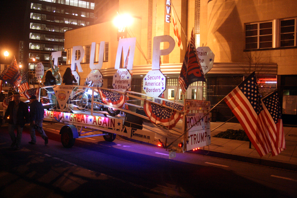 A Donald Trump trailer traverses downtown DC on the eve of Inauguration Day. Photo: Gavin Aronsen/Iowa Informer