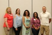 The 2017 National Conference Scholarship winners were announced at the conference. Winners include (left to right) Linda Vanden Bosch (Clarinda Community School District), Elizabeth Martinez (North High School, Des Moines), Consuelo (Connie) Bates (North High School, Sioux City), Dione Ferguson (Brody Middle School, Des Moines), and Bryan Bjorklund (Mason City Community School District).