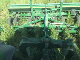 Planting soybeans into a green cover crop.