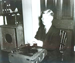 Robert Irwin and talking book player circa 1940