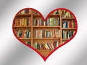 Heart shape filled with books on shelves