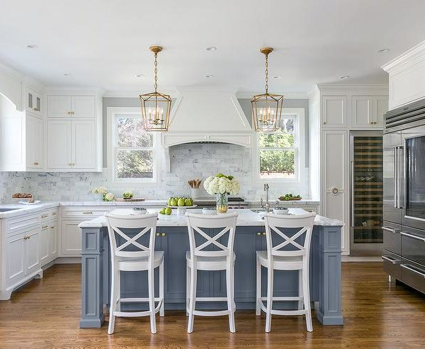 blue kitchen island cut resistant gloves light with white cabinets iowa remodels