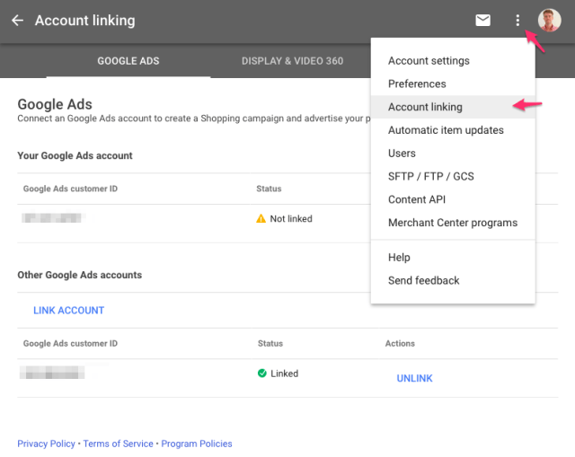 Google Merchant Center and Google Ads Account linking