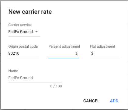 google merchant center carrier rates