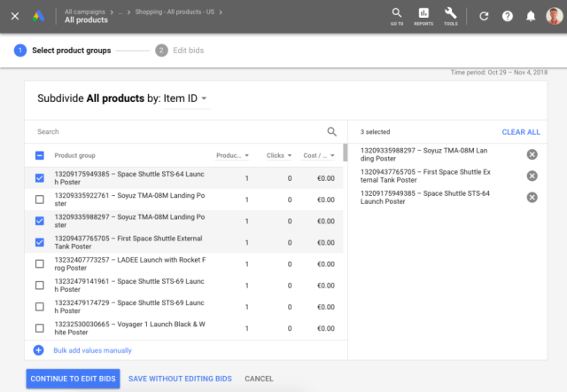 google shopping product groups item ID