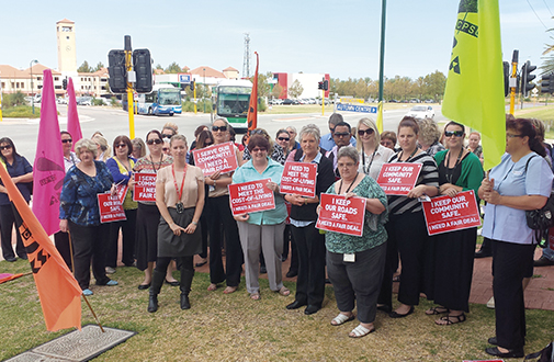 The modern face of unions in Australia: public sector workers on strike in Rockingham, WA