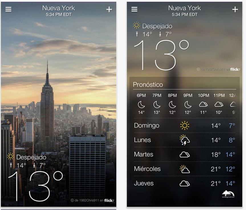 Yahoo! Tiempo, aplicación para los dispositivos con iOS