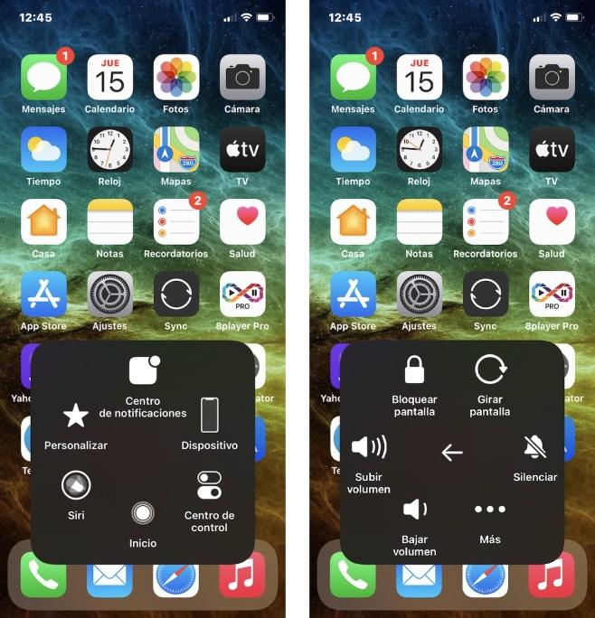 AssistiveTouch, botones de control en la pantalla de inicio de iOS