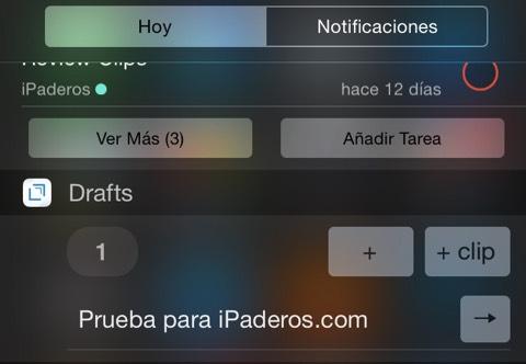 Drafts se actualiza recuperando el widget para el centro de notificaciones
