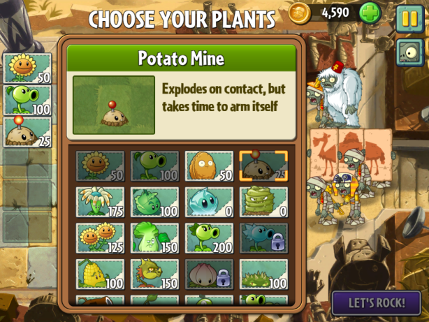 Plants vs Zombies 2 choice of plants