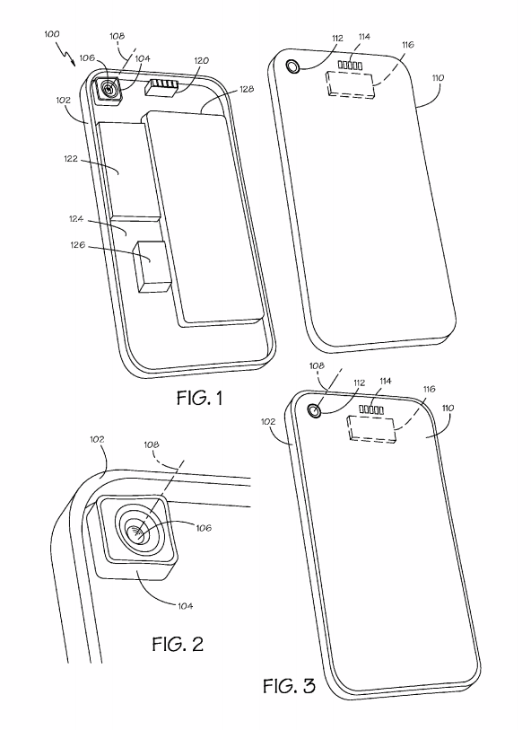 Apple swappable camera lens iPhone patent diagram