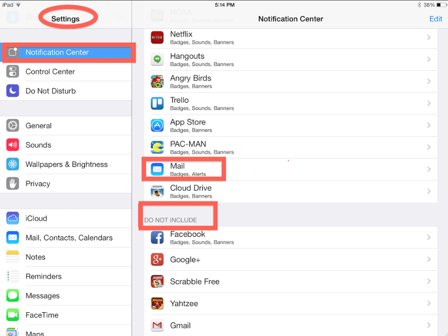 Do Not Include and Include Sections located within the notification center settings