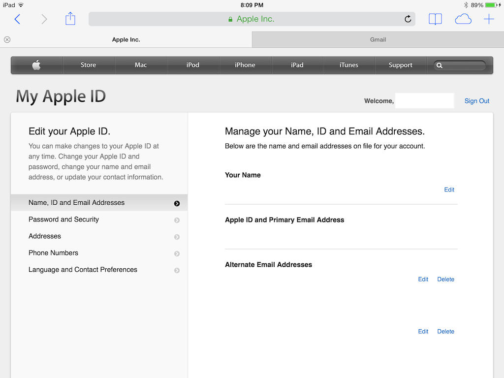 In My Apple ID, change security questions in password and security