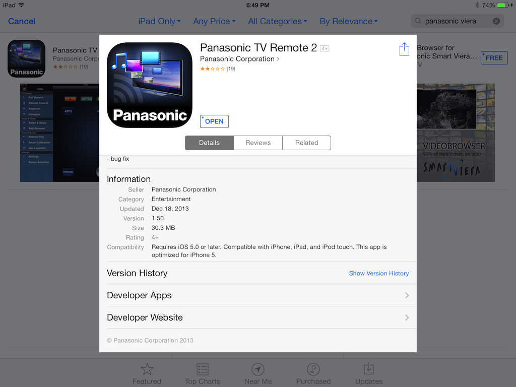 Panasonic Smart TV Remote 2 connects your Smart TV and the iPad