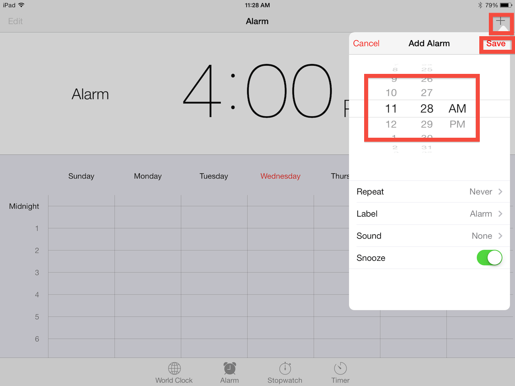 Select plus sign to add an alarm, then save to preserve it