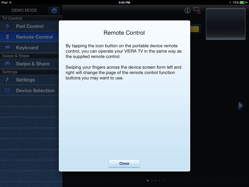 iPad controls in Panasonic Remote TV 2 app