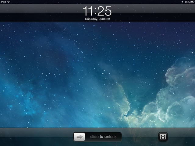 iPad lock screen