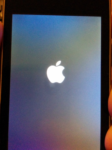 when you restart your iPod Touch, the white Apple logo appears