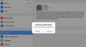 Software iOS 9.0 update failed
