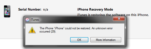 Solutions to Fix iTunes Error 29 When Updating iPhone or iPad