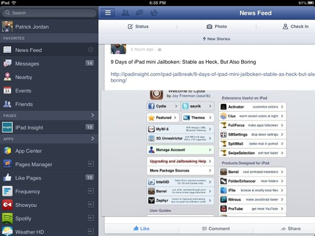 Facebook for iPad Updated: New Like Buttons & More | iPad Insight