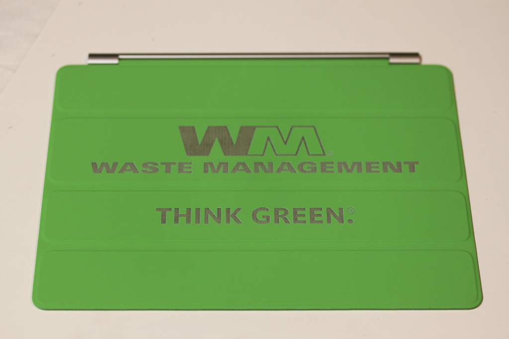 Waste Management Green Custom iPad Cover  In A Flash Laser  iPad Laser Engraving Boutique