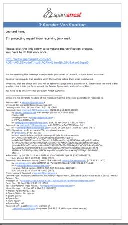 Spam Arrest Email Notification