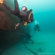 The Rapa Nui is upside down - here we are on the first dive just after she was sunk.  Amazing how little silt there was and how good the visibility is.