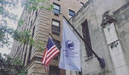 Flags at the Entrance of the International Academy of New York on East 90th Street, New York, NY