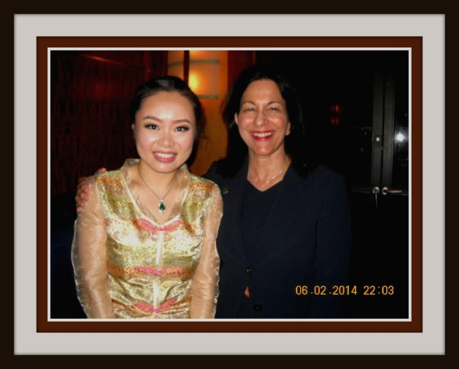 Jiaoyue Lyu and Prof. Elise Sobol , Ed.D., at Ms. Lyu's Weill Hall Guqin Recital, Carnegie Hall, New York City, June 2, 2014