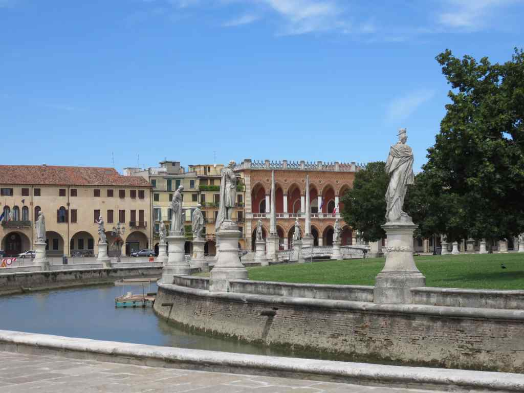 square in Padua with water and statues, Italy, Prato della Valle