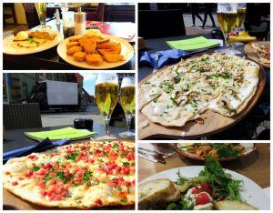 food, beer, Flammkuchen, apple strudel, italian pasta