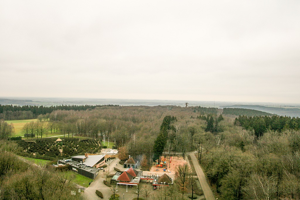 view from a tower to some forests and a hill in the winter and a maize; view from the Bodewijn tower at Tripoint