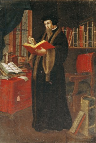 Portrait of John Calvin (1509-64), French theologian and reformer (oil on canvas)