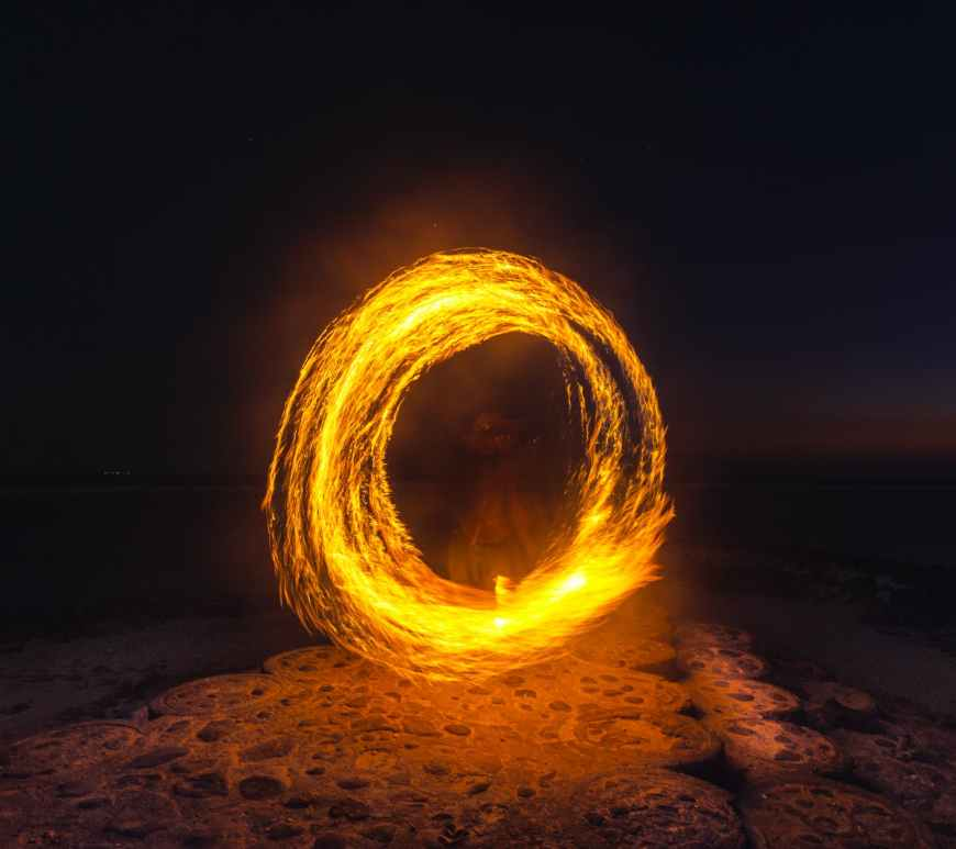 person performing fire dance at night