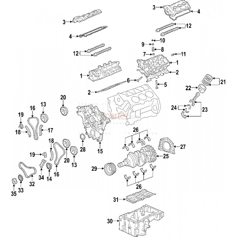 Guia de cadena (b/aceite)|Hyundai|Santa Fe|Sonata|Kia