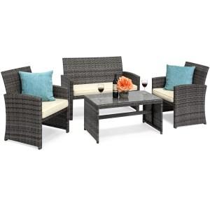 Best Choice Products 4-Piece Wicker Patio Conversation Furniture Set Save $120.00