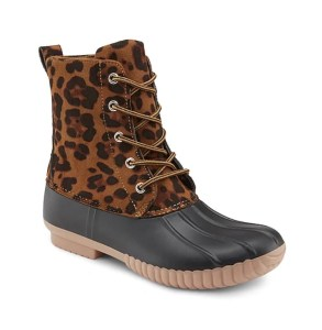 Animal print duck boots at DSW