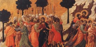Duccio, Betrayal of Jesus, 1308-11. Back of Maestà Altarpiece, from Siena Cathedral