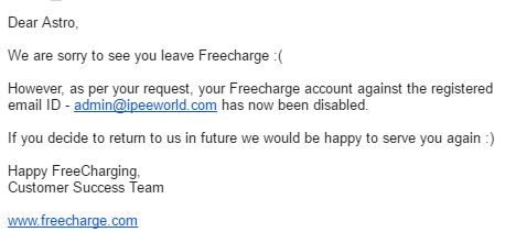 Freecharge Reply Email - Delete Freecharge Account