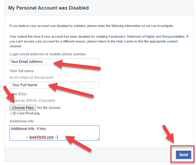 Facebook Account Block Appeal Form