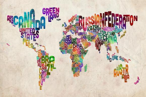 Micheal Tompsett, Text map of the world [fineartamerica.com]