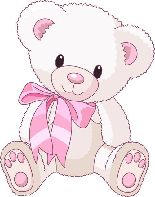 Ursinho lindo com lacinho rosa no pescoço