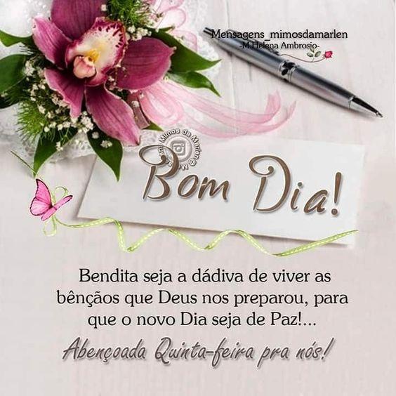 Bom dia Quinta-Feira com bênçãos de Deus
