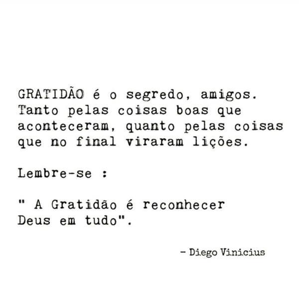 Gratidão é o segredo